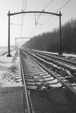 Railway tracks and overhead lines in perspective Royalty Free Stock Image