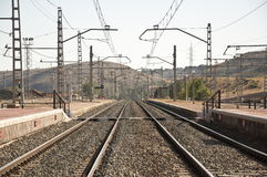 Railway tracks and platform Stock Photos