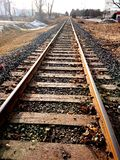 Railway tracks railroad cnr Guelph Ontario Canada trains locomotives transport system. S stock images