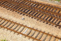 Railway tracks. Usually consist of two parallel rails, supporting the locomotives to drive many vehicles. Rail made of steel can bear more weight than other royalty free stock images