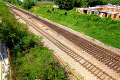 Railway tracks. Usually consist of two parallel rails, supporting the locomotives to drive many vehicles. Rail made of steel can bear more weight than other royalty free stock photo