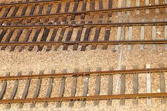 Railway tracks. Usually consist of two parallel rails, supporting the locomotives to drive many vehicles. Rail made of steel can bear more weight than other stock image