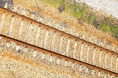 Railway tracks. Usually consist of two parallel rails, supporting the locomotives to drive many vehicles. Rail made of steel can bear more weight than other royalty free stock photos