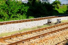 Railway tracks. Usually consist of two parallel rails, supporting the locomotives to drive many vehicles. Rail made of steel can bear more weight than other royalty free stock photography