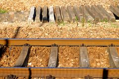 Railway tracks. Usually consist of two parallel rails, supporting the locomotives to drive many vehicles. Rail made of steel can bear more weight than other stock photography