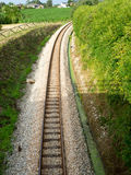 Railway tracks in a rural scene. Background Royalty Free Stock Images