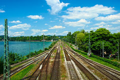 Railway tracks in a rural scene at Lindau Royalty Free Stock Photography