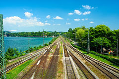 Railway tracks in a rural scene at Lindau Royalty Free Stock Image
