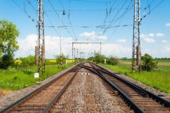 Railway tracks in a rural scene Royalty Free Stock Photo