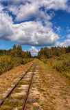 Railway tracks. Rusty Railway tracks in the fall stock image