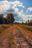 Railway tracks. Rusty Railway tracks in the fall stock photo