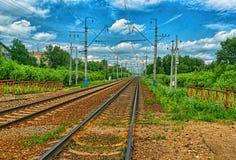 Railway tracks rusty. Railway tracks in the summer stock photo