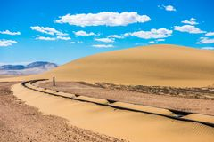 Railway tracks after sand storm, Namibia royalty free stock photography