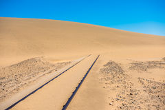 Railway tracks after sand storm, Namibia royalty free stock photos