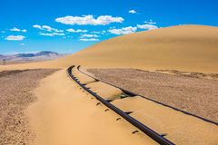 Railway tracks after sand storm, Namibia Royalty Free Stock Photo
