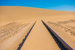 Railway tracks after sand storm, Namibia royalty free stock images