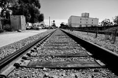 Railway tracks in Santa Barbara. Long straight rails in Santa Barbara, California Royalty Free Stock Photos