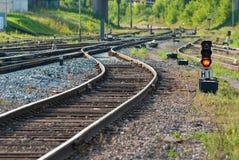 Railway tracks and semaphore Royalty Free Stock Photography