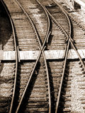 Railway tracks - sepia. Points on a Railroad line, in sepia tone Royalty Free Stock Images