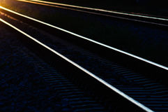 Railway tracks in the shadow light of sunset. Royalty Free Stock Photos