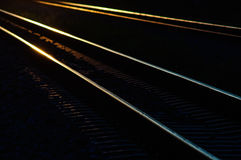 Railway tracks in the shadow light of sunset. Royalty Free Stock Image