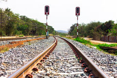 Railway tracks with signals on background Royalty Free Stock Photos