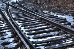 Railway tracks with snow in Bucks County, Pa. USA royalty free stock photo