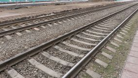 Railway tracks at the station. Rails and sleepers.  stock video