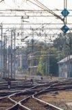Railway tracks on a sunny day Stock Photo