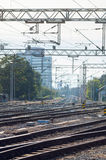 Railway tracks on a sunny day Royalty Free Stock Photo