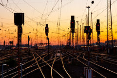 Railway Tracks at Sunset stock photo