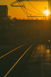 Railway tracks at sunset Royalty Free Stock Image