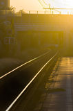 Railway tracks at sunset Stock Photography