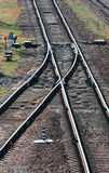 Railway tracks switch. Perspective view Stock Photography