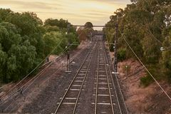 Railway tracks to the distance Stock Photography