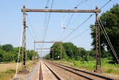 Railway tracks to infinity. Railway tracks visible to the horizon with no train royalty free stock photography