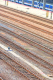 Railway tracks and train Stock Photo