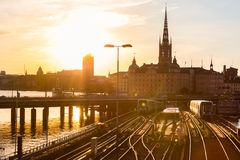 Railway tracks and trains in Stockholm, Sweden. Stock Images