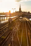 Railway tracks and trains in Stockholm, Sweden. Stock Photos