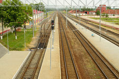 Railway tracks for trains. Royalty Free Stock Images