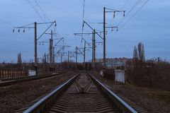 Railway tracks turn to the left. stock photos