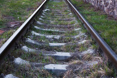 Railway tracks up-close on a sunny day. Railway tracks up-close up Royalty Free Stock Photography