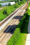 Railway tracks. Usually consist of two parallel rails, supporting the locomotives to drive many vehicles. Rail made of steel can bear more weight than other stock photo