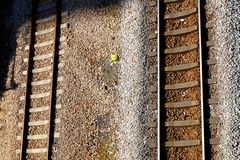 Railway tracks. Usually consist of two parallel rails, supporting the locomotives to drive many vehicles. Rail made of steel can bear more weight than other royalty free stock image