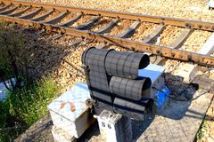 Railway tracks. Usually consist of two parallel rails, supporting the locomotives to drive many vehicles. Rail made of steel can bear more weight than other stock images
