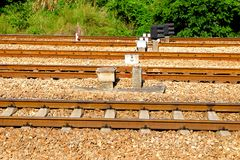 Railway tracks. Usually consist of two parallel rails, supporting the locomotives to drive many vehicles. Rail made of steel can bear more weight than other stock photos