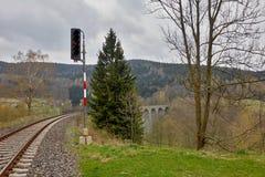 Railway tracks and viaduct Stock Photo