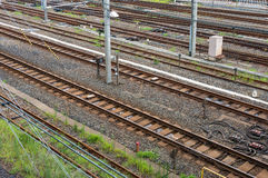 Railway tracks. View from above. Railroad bed and trackage Stock Photos