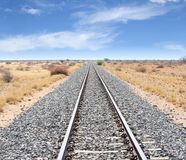 Railway tracks Windhoek Keetmanshoop, Namibia. Railroad tracks of Transnamib railroads in African savannah landscape between Windhoek and Keetmanshoop, Namibia stock images