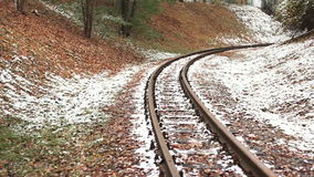 Railway Tracks in Winter stock video